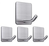 Hot sell bathroom stainless steel removable self Adhesive wall Hooks Hanger and loop heavy duty wall hooks