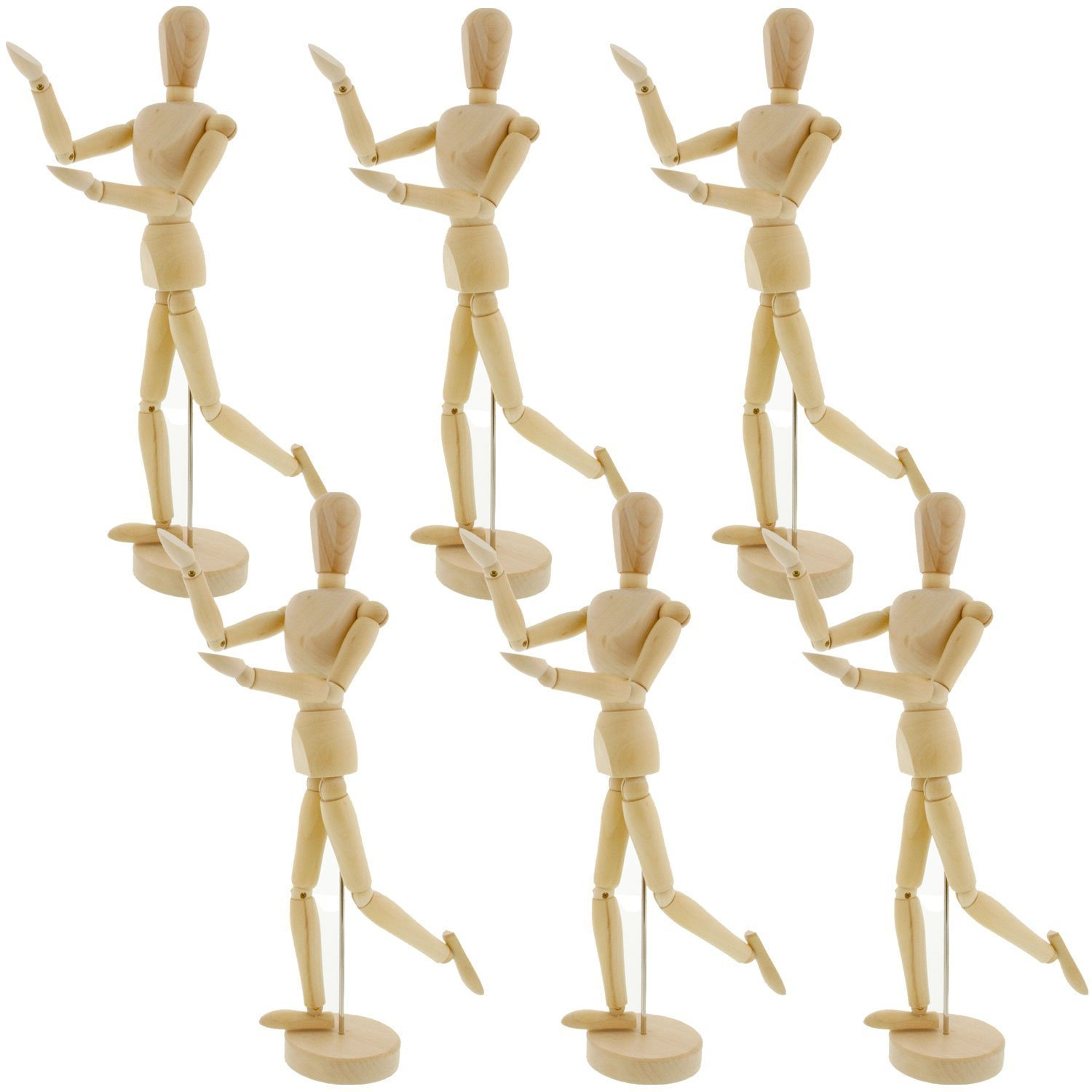Perfect For Drawing the Human Figure US Art Supply Wood 12 Artist Drawing Manikin Articulated Mannequin with Base and Flexible Body 12 Pair - Male /& Female