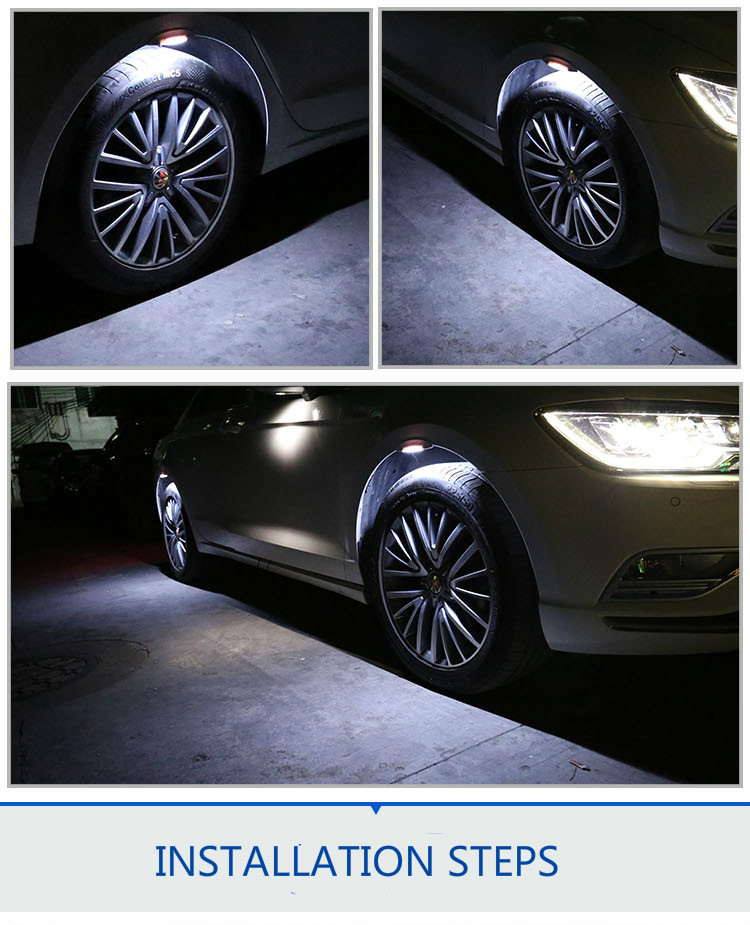 HTAUTO4pcs Hot Sale Universal LED Car Wheel Eyebrow Side Led Lights Turn Lights Signals Arrow Flash Car Decorative DIY LED Strip