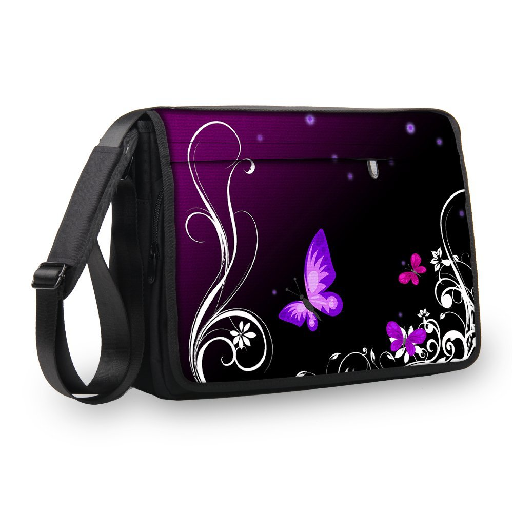 "MySleeveDesign Laptop Messenger Bag Notebook Shoulder Bag 17"" / 17.3"" - Carry Bag With Shoulder Strap - 13.3 Inch / 14 Inch / 15.6 Inch / 17.3 Inch - SEVERAL DESIGNS - Butterfly Light - 17 inch"