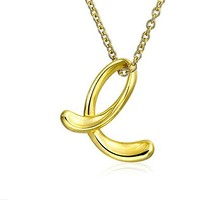 Gold Plated Silver Letter E Script Initial Pendant Necklace