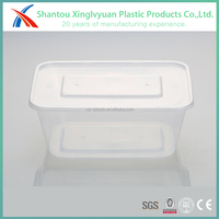 Industrial disposable clear rectangular plastic container and lid