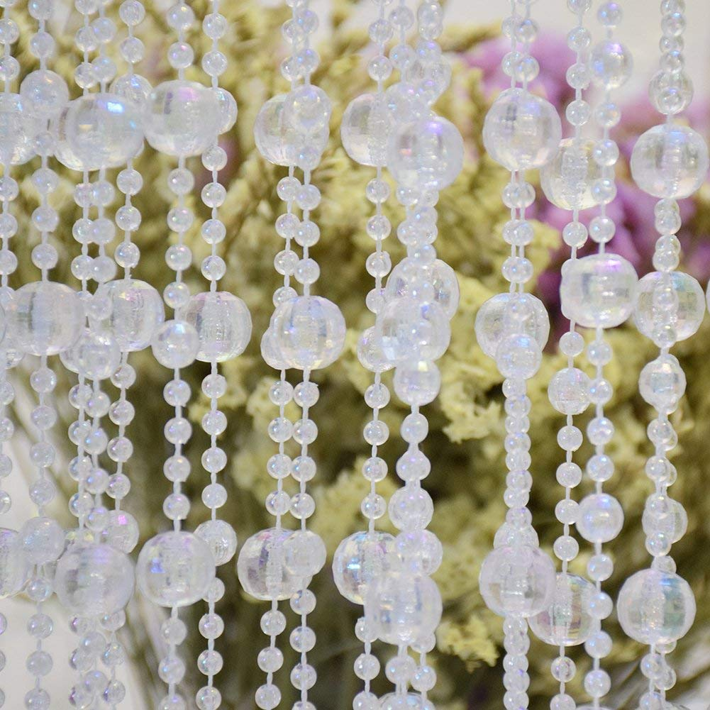 33ft/10M ABS Beaded Garland, Clear Acrylic Crystal Beads Curtain Garlandfor Wedding Decoration