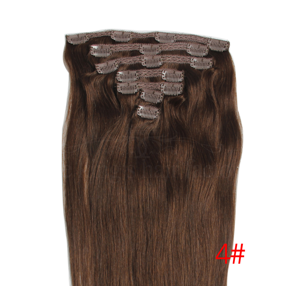 Free Shipping Brazilian Clip In Human Real Hair Extensions16inch 18inch 20inch 22inch 24inch Human Hair Weaves Straight 7pcs/set