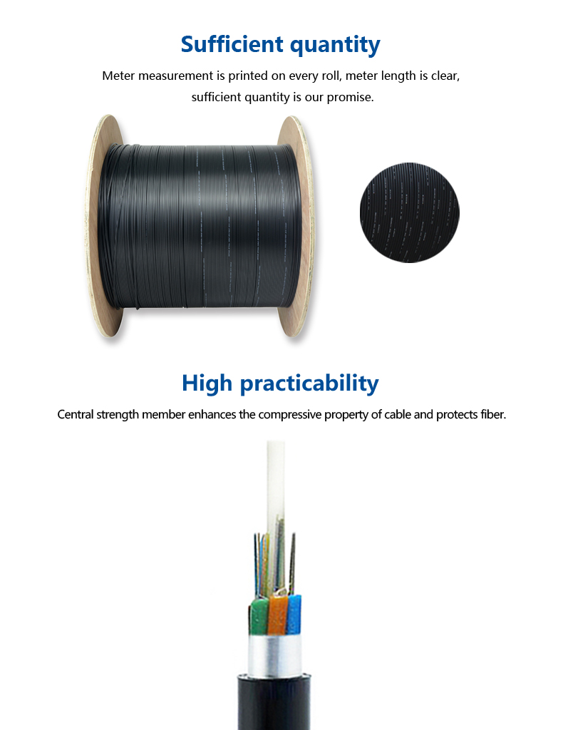 GYFTA Water Blocking Yarn 96 Cores Single Mode Fiber Reinforced Plastic Fiber Optic Cable