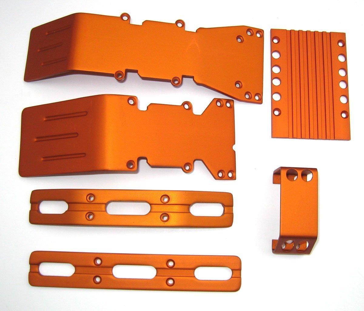E-Maxx Orange Anodized Aluminum skid plate set T-Maxx