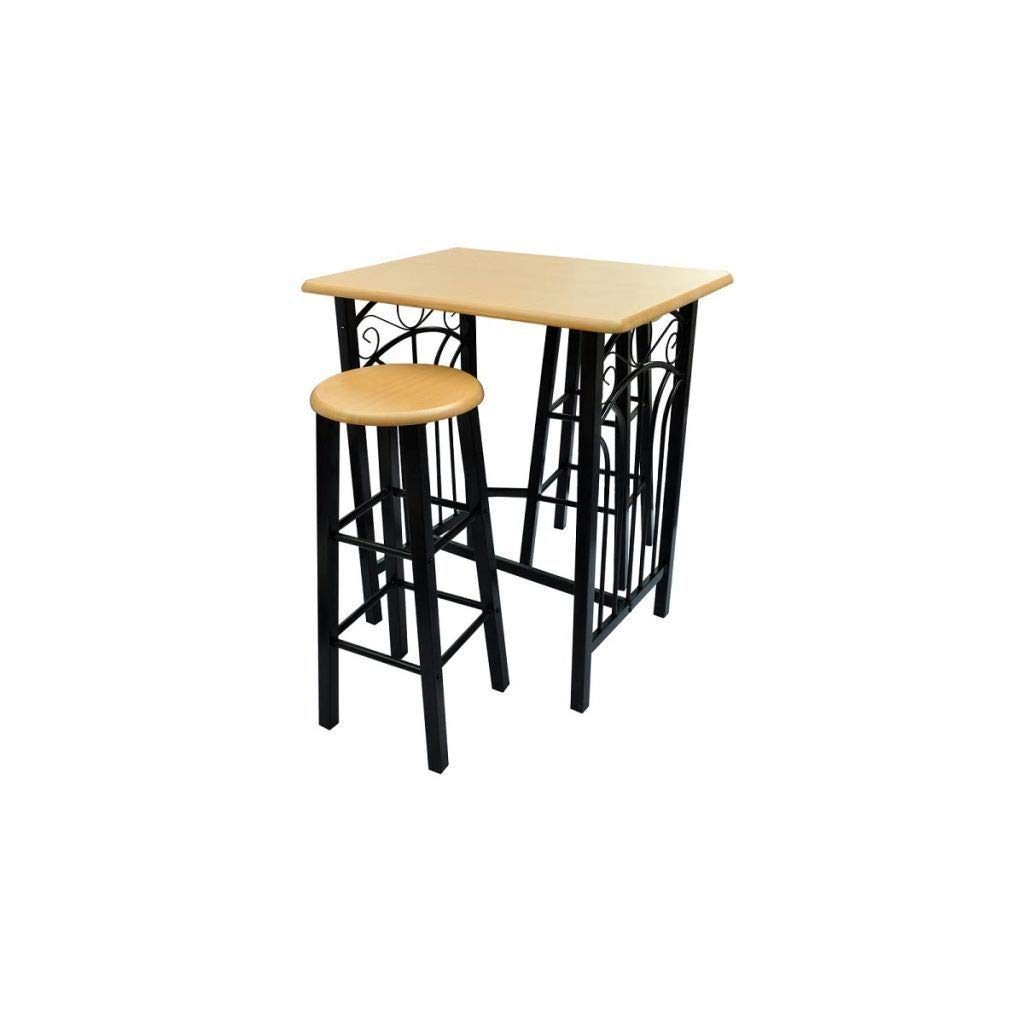 Asher Amada 3 Piece Dining Table Set with 2 High Chairs Kitchen Breakfast Bar Furniture MDF
