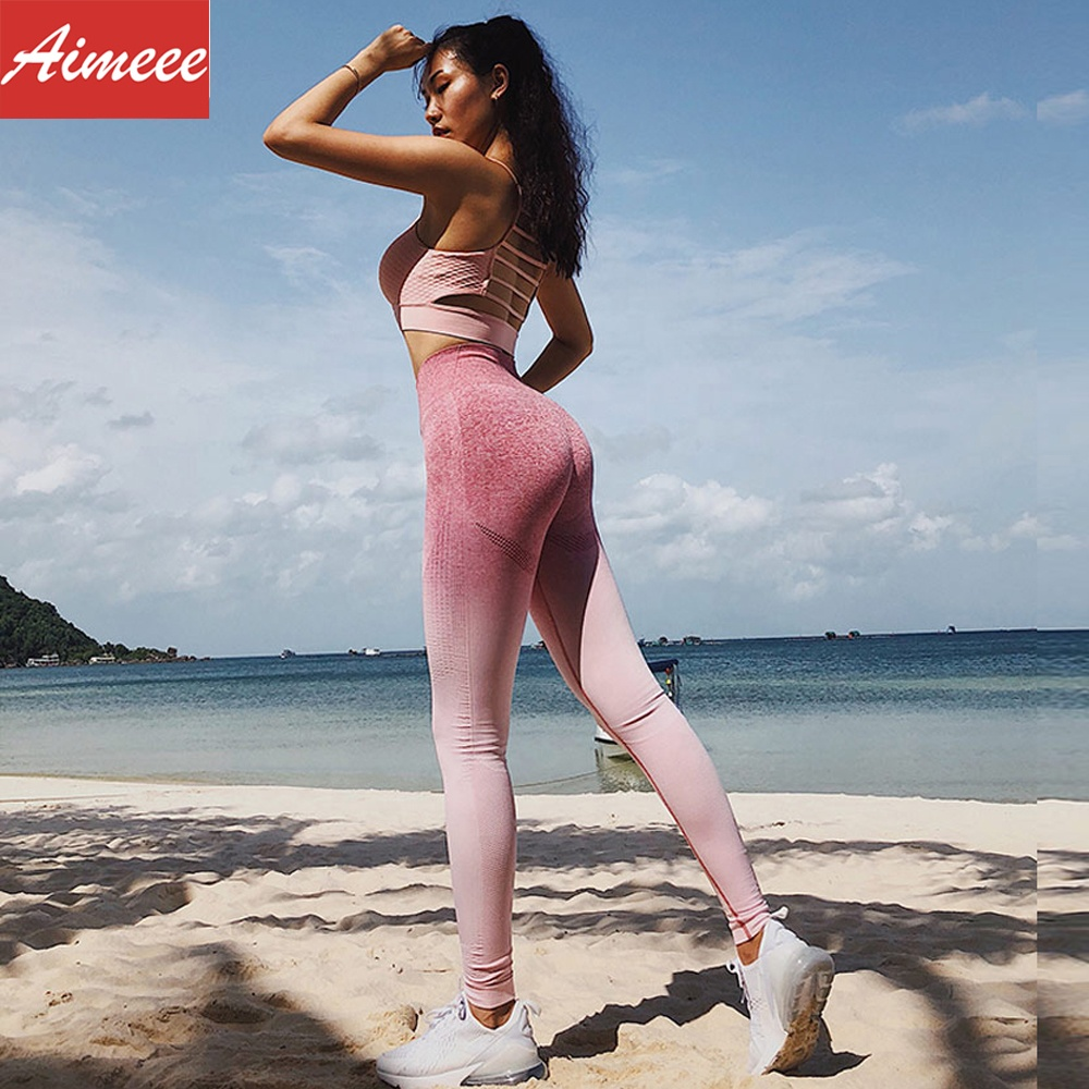 Fitness Clothing Ombre Seamless High Waisted Push Up Leggings фото