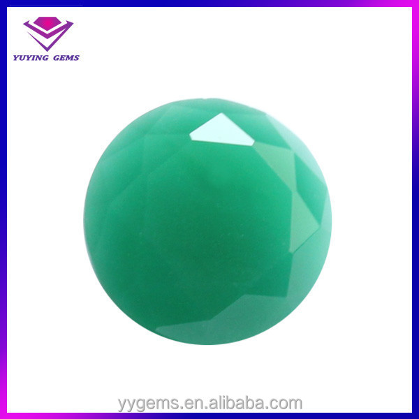 Wuzhou wholesale 10mm round glass material green jade <strong>stone</strong> price