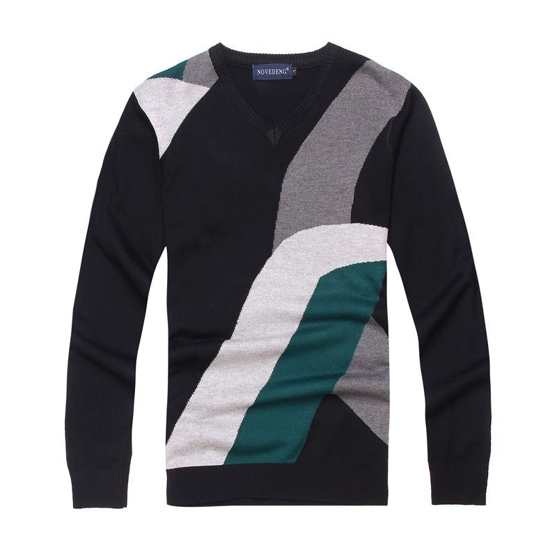 free shopping Sweater men's 2012 male color block decoration V-neck sweater male thin sweater male