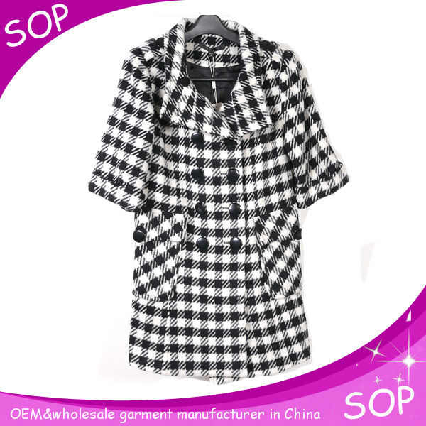 Wholesale women fancy plaid winter coats cheap guangzhou factory