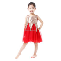 Boutique gold sequin top red chiffon tulle bottom dresses toddler girls dress cute princess formal party one-piece wholesale