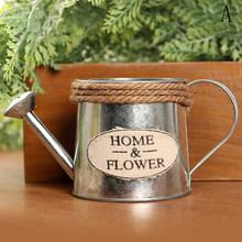 Винтажный металлический Железный цветочный полив баррель ретро цветочный горшок для суккулентов ведро для растений домашнее украшение на...(Китай)