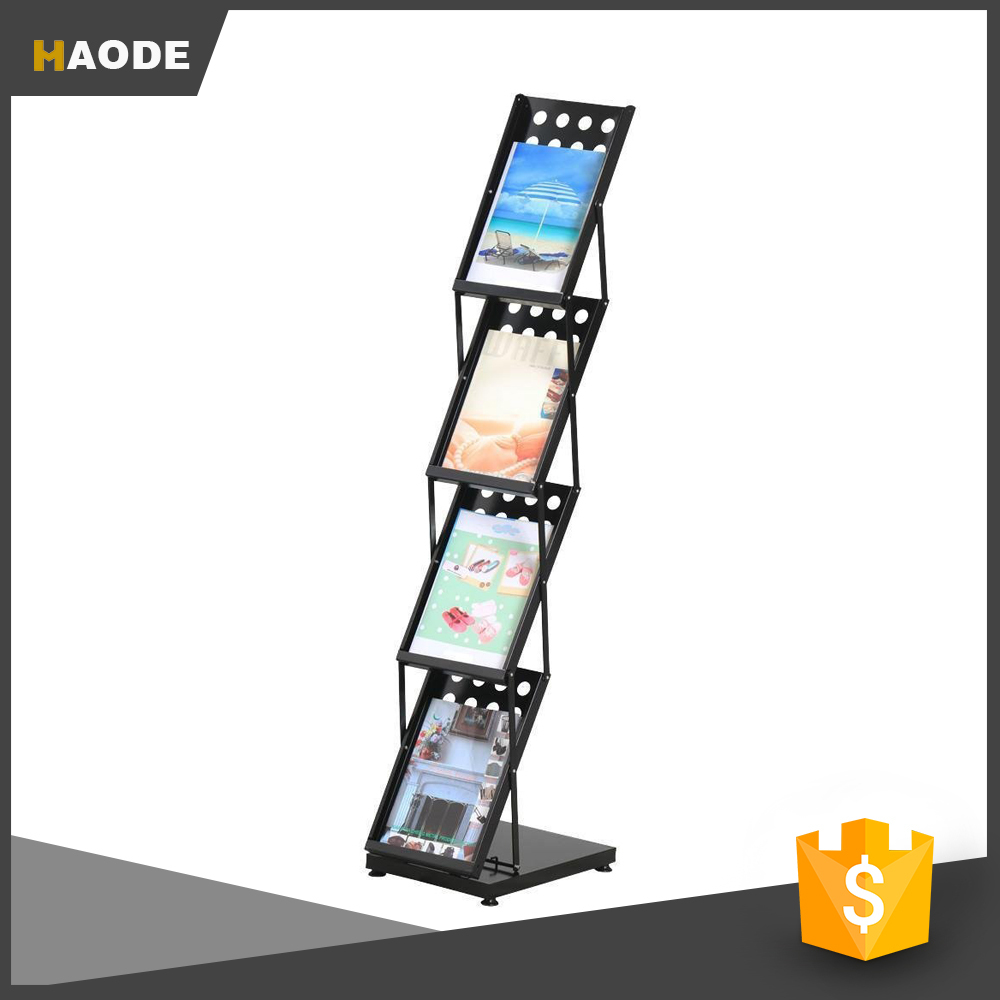 4 Pocket Folding Literature Rack Brochure Magazine Display Stand,Black