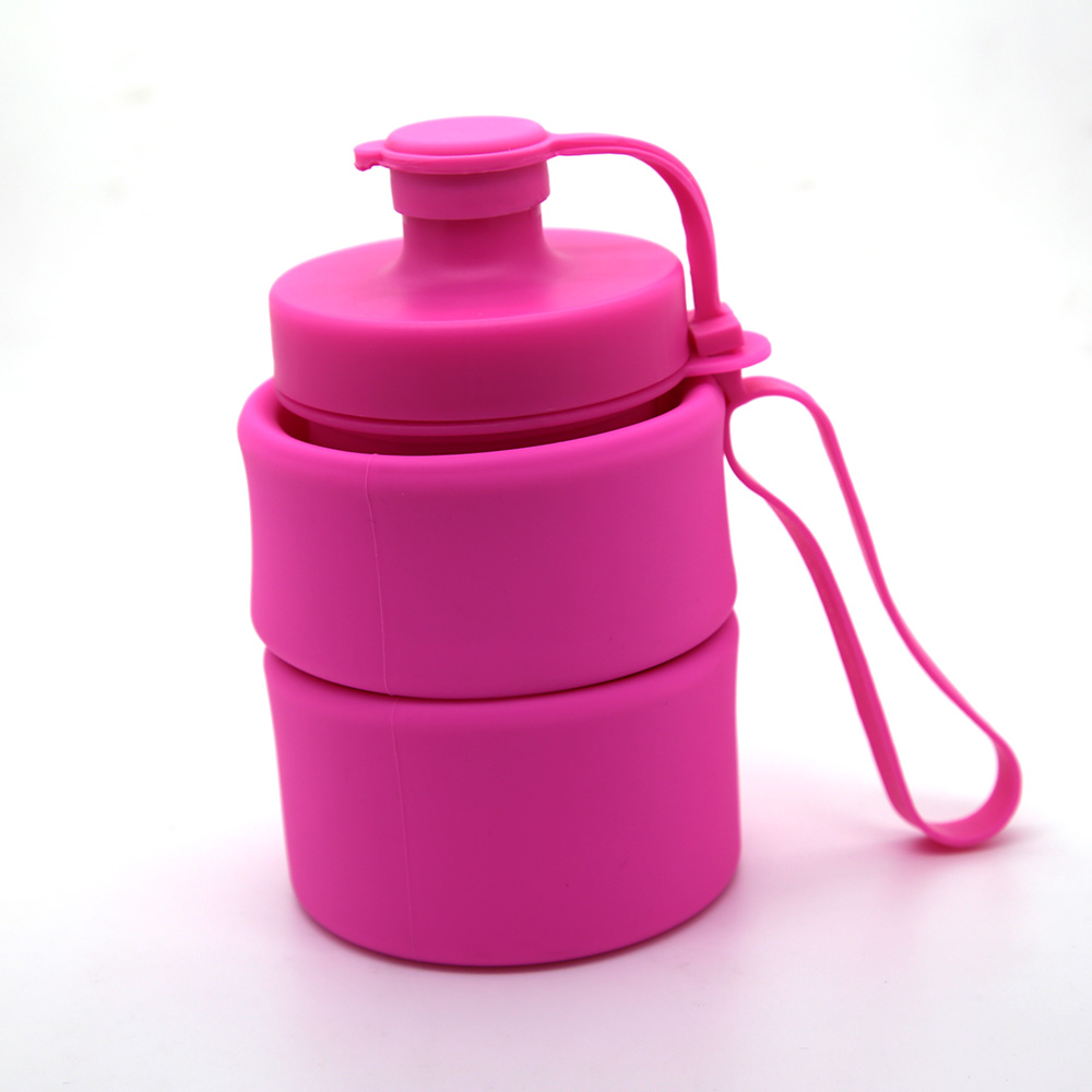 NEW Sports outdoor 650ml/22oz Foldable Silicone Water <strong>Bottle</strong> with lanyard design