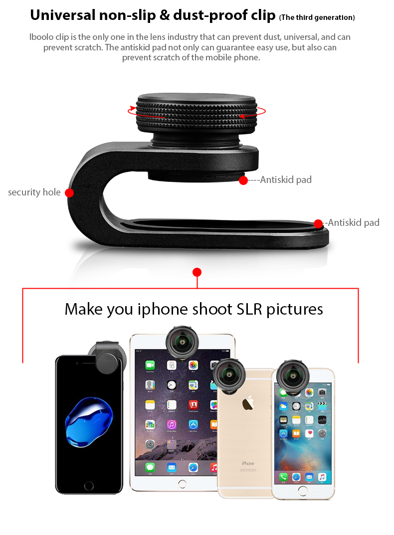 IBOOLO 2018 New designed mobile phone camera full screen professional HD 4K 238 degree 8MM PRO super fisheye lens