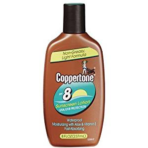 Coppertone Tanning Lotion SPF 8 Sunscreen-8 oz (Quantity of 3)
