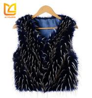Women short colorful turkey raw rabbit fur vest