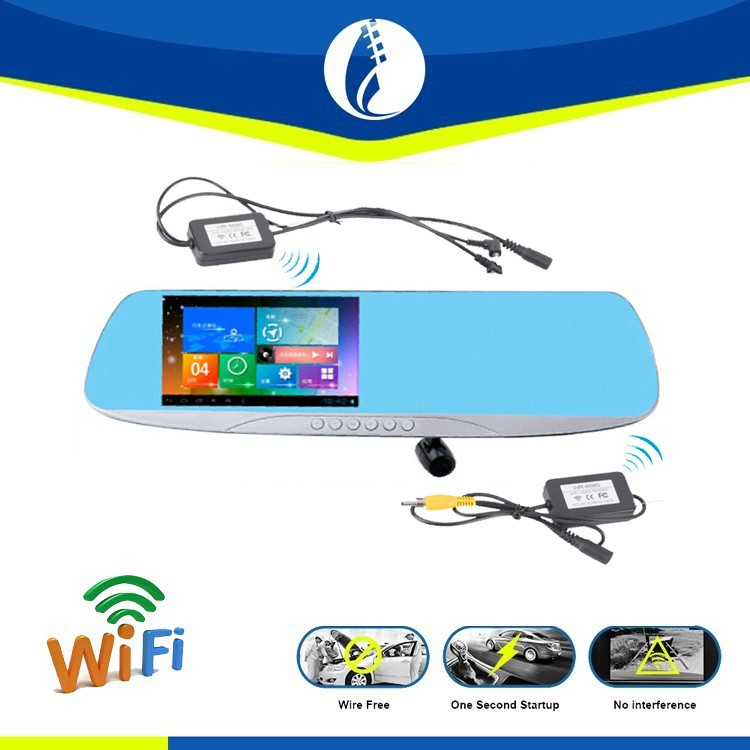 Wireless GPS Navigation Wire Free Dash Carmera Reserving Mirror Monitor