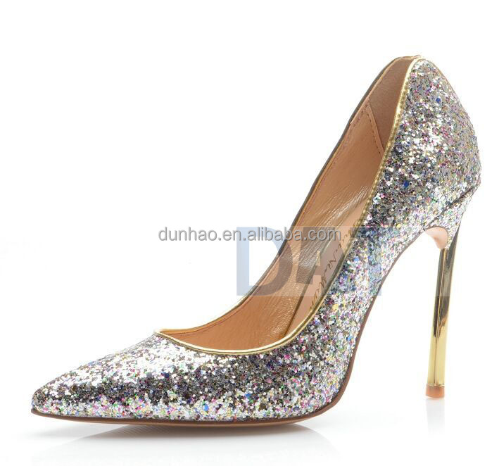 Banquet Toe Point High Thin Heel Glitter Heel Shoes Fashion Electroplate gqttWX4nr