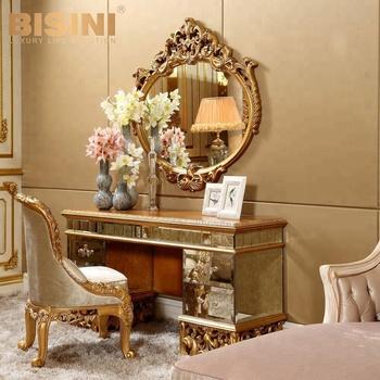 Bisini Antique Vanity Dresser With Mirror/luxury Bedroom Golden ...