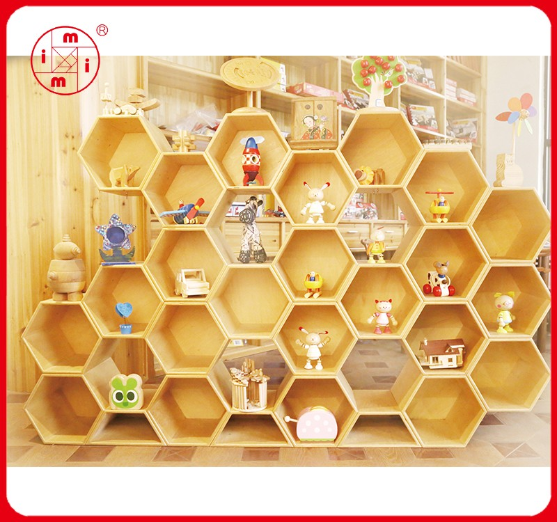 Home Diy Decorative Wall Floating Wooden Honeycomb Blocks Shelves ...
