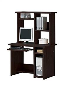 Espresso Finish Home Office Computer Desk with Hutch