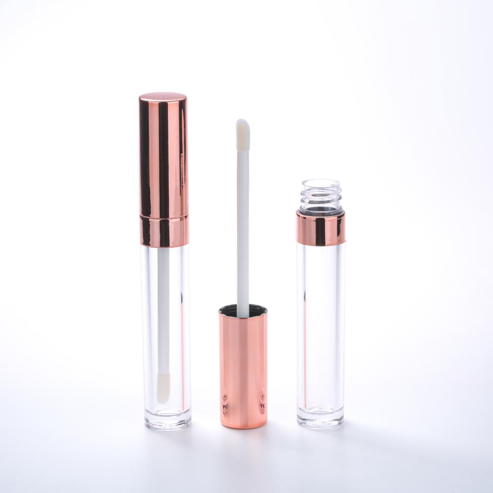 Empty custom clear slim plastic rose gold lip gloss <strong>tubes</strong>