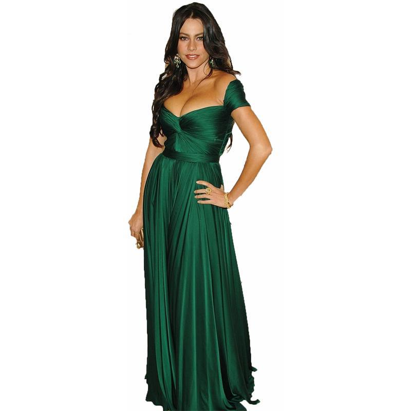 Charming Women Emerald Green Long Evening Dresses Cap ...
