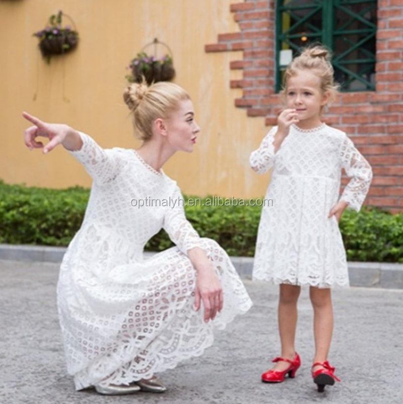 New Design Parent-Child Lace Clothing Mommy And Me Maxi Dresses