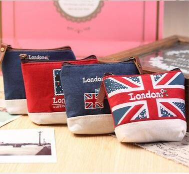 Unisex Cheapest Canvas Cartoon England Style Retro Small Coin Change Purse Lady Mini Coin Wallet Key Car Pouch Little Money Bag