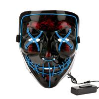 Halloween Carnival Party Rave Masquerade Mask Led Light Up Luminous Neon El Wire Mask For Festival Parties