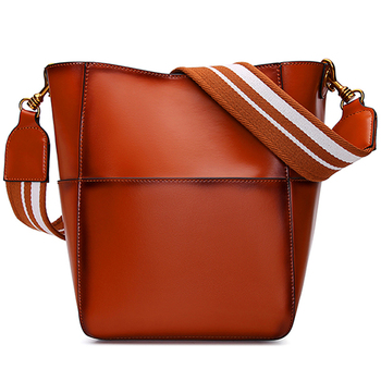 92c9535b23f2 New style retro cowhide single shoulder bag fashion lady bag bucket wide  shoulder strap inclined crossing