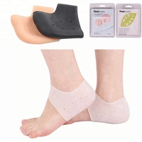 Silicone Gel Heel Sock Protector for dry cracked skin moisturising Foot Care with anti slip cushion pad