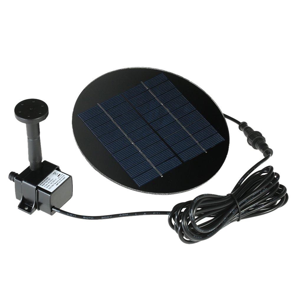 Anself Solar Panel Power Fountain Submersible Brushless Water Pump Kit for Bird Bath Pond Fountain Garden, 7V/1.2W or 9V/1.5W