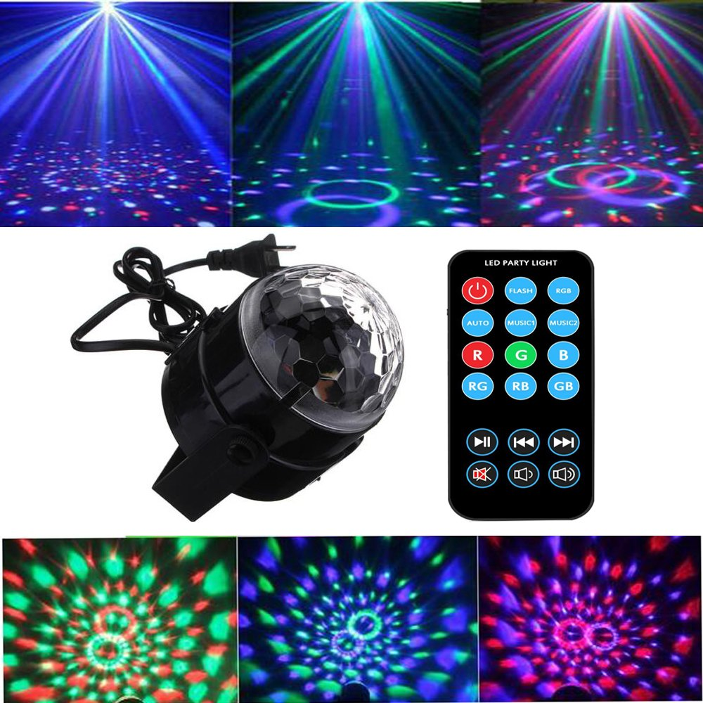 EOTO LIGHT Party Lights 3W Disco Ball Lights Dj Light LED Stage Light 7 Colors Sound Activated Strobe Light Portable Stage Lights for Party Birthday KTV Bar Wedding Holiday Pub Festival