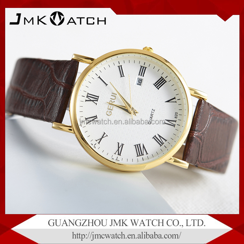 Quartz stainless steel watch water resistant with genuine leather watch band
