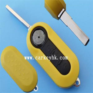 New arrival Fiat 3 button modified flip remote key shell fiat cover key blank yellow color