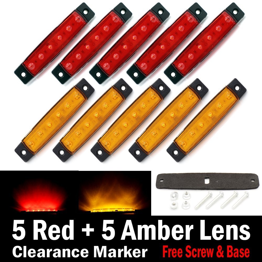 "10 pcs TMH® 3.8"" 6 LED Red & Amber Side Led Marker ( 5 + 5 ), Trailer marker lights, Led marker lights for trucks, Marker light amber, Rear side marker light, Truck cab marker lights, RV marker light"