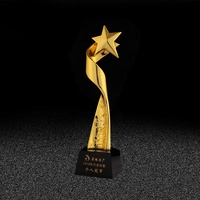 Wholesale Retro Golden Star Torsion Column Trophy For Business Gifts Resin American Football Trophies