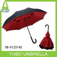 Fashion design manual open black outside and red inside color upside down and inverted umbrella