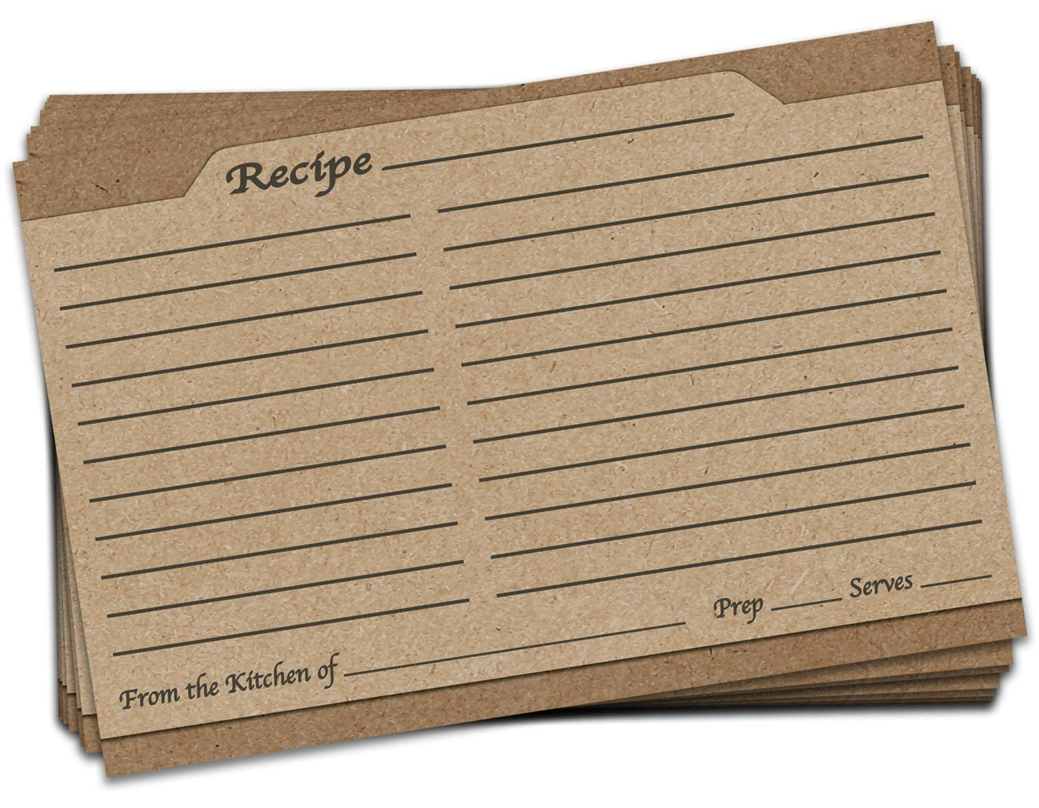 Brown Recipe Cards Kim Linen Double Sided Card Stock Recipe Card Set 4x6 inches Set of 25
