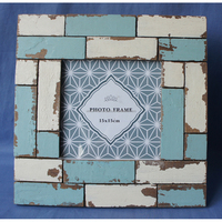 Square painted wooden photo frame