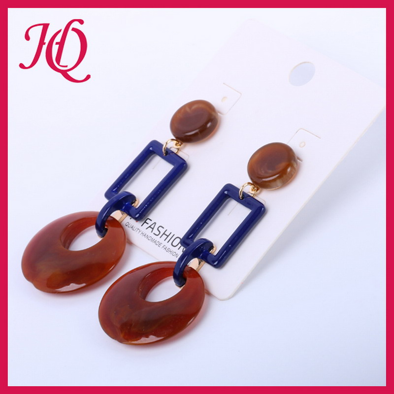 Fashionable women earing new rectangle circle drop resin earring 2017