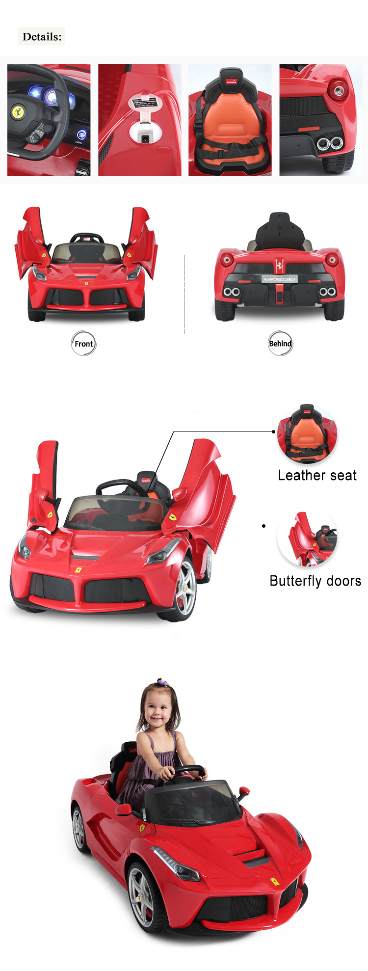 Rastar shopping toy Ferrari licenced LaFerrari ride on car toys for kids