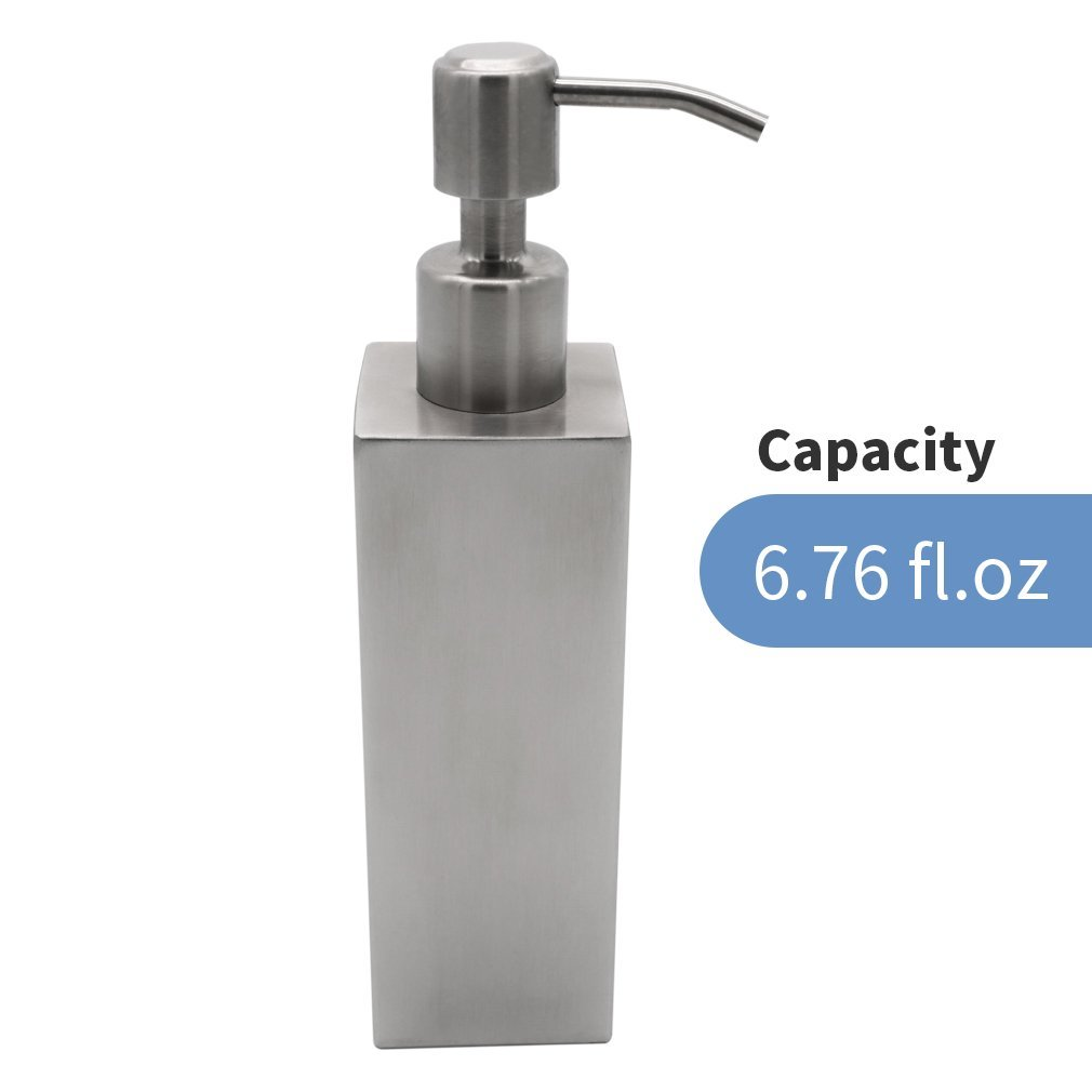 Get Quotations Besy Premium Stainless Steel Liquid Soap Lotion Dispenser Pump Square Refillable For