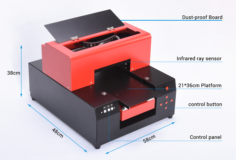Shenzhen RFC 3d digitale a4 uv inkt flatbed printer voor pennen/telefoon cover cases/keramische/pvc card /bewegwijzering