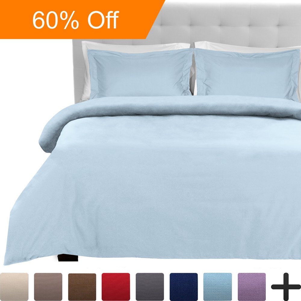 Luxury 2 Piece Duvet Cover and Sham Set ,Premium 1800 Ultra-Soft Double Brushed Microfiber
