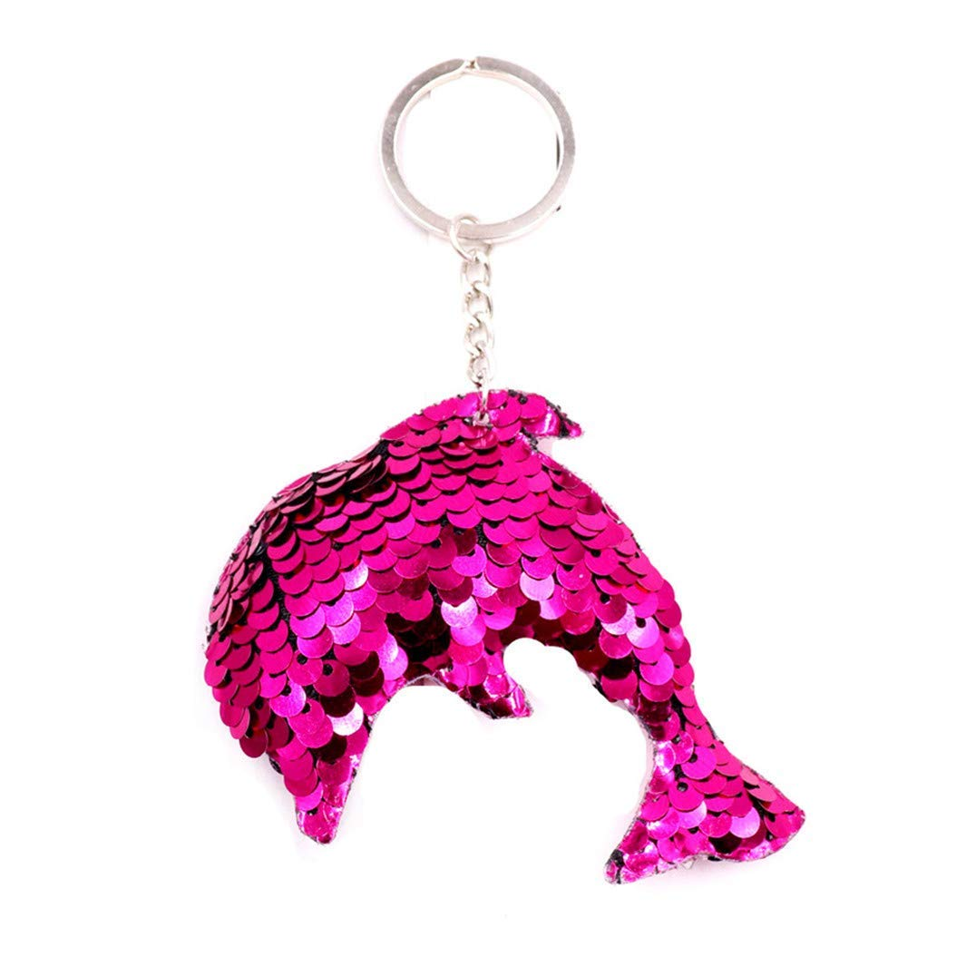 YouCY Cute Horse Sequin Keychain Double-Sided Colorful Animal Style Keychain Party Favors Party Supplies,Dolphin rose red