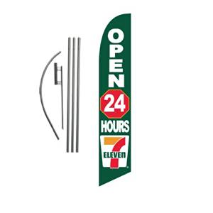 7 Eleven 7/11 Open 24 Hours 15ft Feather Banner Swooper Flag Kit - INCLUDES 15FT POLE KIT w/ GROUND SPIKE